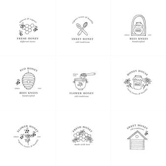 Wektor zestaw ilustracji logo i szablony projektów lub odznaki. etykiety i przywieszki do miodu ekologicznego i ekologicznego z pszczołami. styl liniowy.
