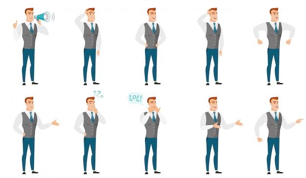 Wektor zestaw ilustracji z ludzi biznesu.