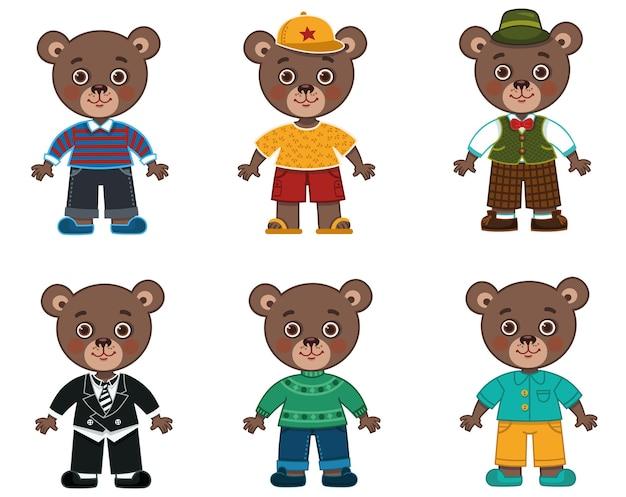 Wektor zestaw ilustracji znaków tata niedźwiedzia z różnymi kostiumami