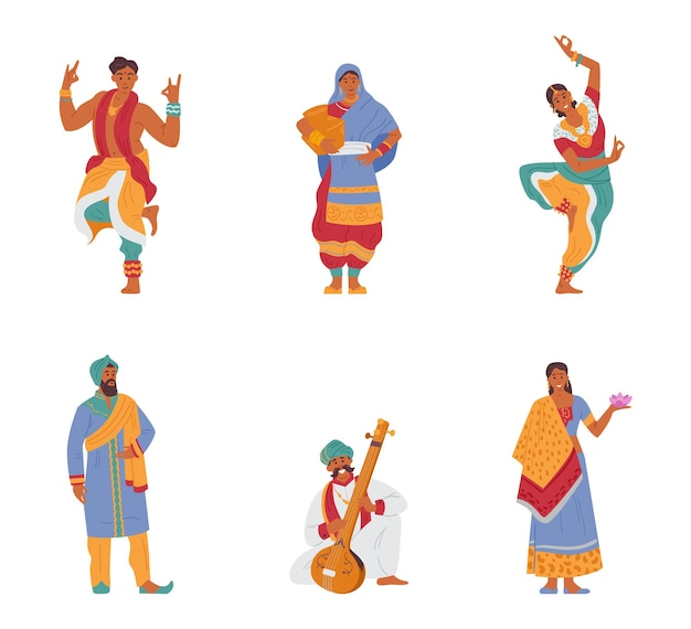 Wektor zestaw indyjskich znaków mężczyzn i kobiet w tradycyjnych strojach. na białym tle.