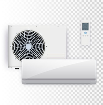 Wektor zestaw instalacji klimatyzatora na przezroczystym tle