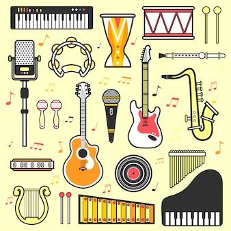 Wektor zestaw instrumentów muzycznych