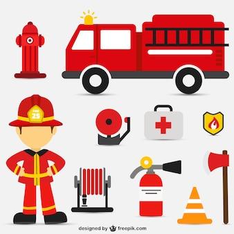 Wektor zestaw interwencji ogień