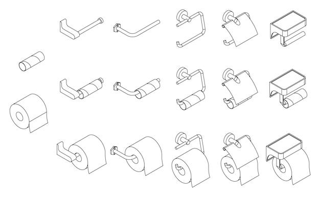 Wektor zestaw izometryczny uchwyt na papier toaletowy pusty i pełny