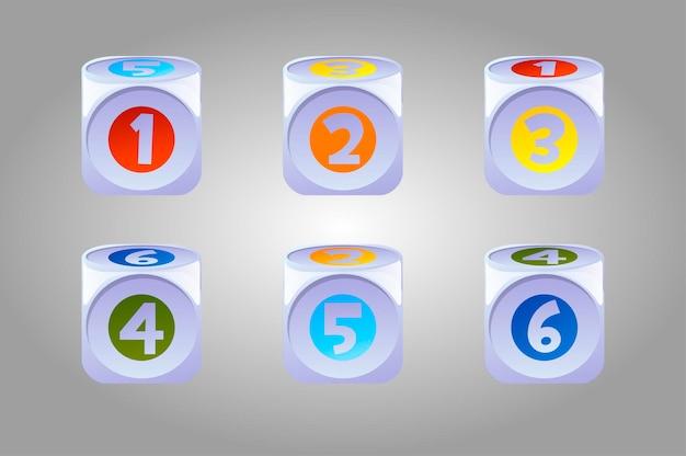 Wektor zestaw jasnych kości gry dla dzieci. kolekcja dzieci kubs z numerami.