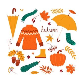 Wektor zestaw jesień ubrania, liście, dynie, jagody, kwiaty, żołędzie, parasol. płaska ilustracja do projektowania pocztówek, stron internetowych, banerów, naklejek