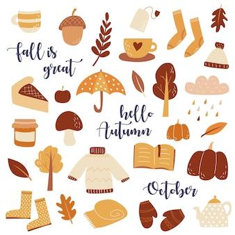 Wektor zestaw jesiennych ikon notatniku kolekcja elementów sezonu jesiennego