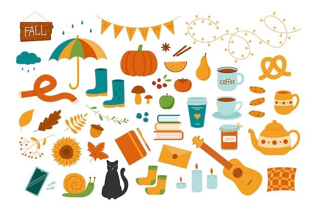 Wektor zestaw jesiennych ilustracji