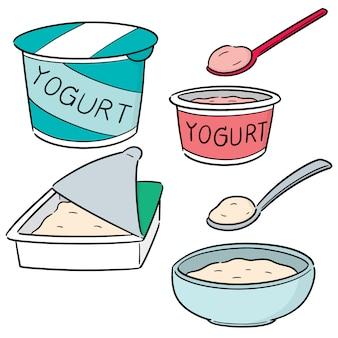 Wektor zestaw jogurtów