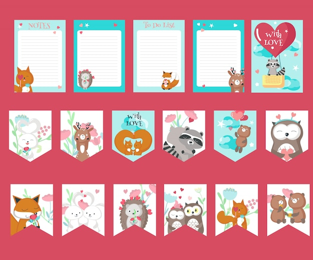 Wektor zestaw kart miłości z uroczych zwierzątek