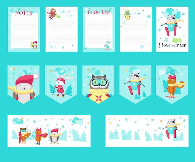 Wektor zestaw kart z słodkie zwierzęta na nartach
