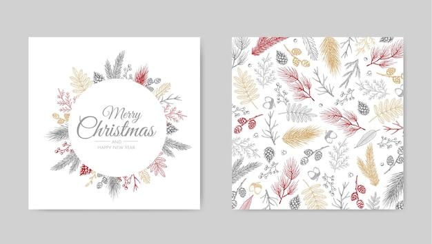 Wektor zestaw kartek świątecznych. projektowanie szablonów kart świątecznych.
