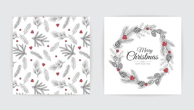 Wektor zestaw kartki świąteczne