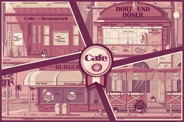 Wektor zestaw kawiarni w tle w budapeszcie, nowym jorku, budapeszcie, dnieprze.