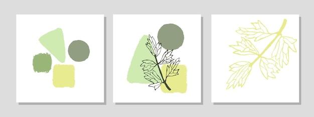 Wektor zestaw kolażu nowoczesnego plakatu z abstrakcyjnymi kształtami i ilustracją rośliny