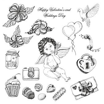 Wektor zestaw kolekcja dzień ślubu