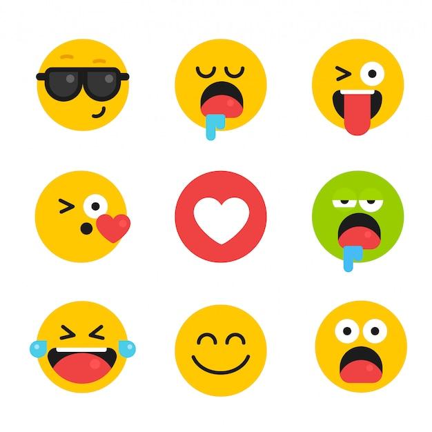 Wektor zestaw kolekcja emocje uśmiechy ikony