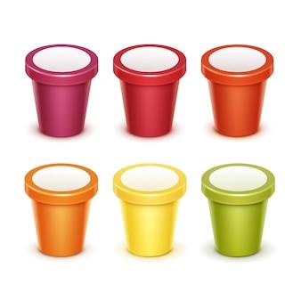 Wektor zestaw kolorowe czerwony, zielony, pomarańczowy, żółty pojemnik z tworzywa sztucznego puste jedzenie