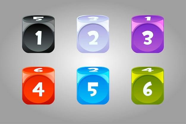 Wektor zestaw kolorowych kości z numerami. kolekcja jasnych losowych kości do gier hazardowych.