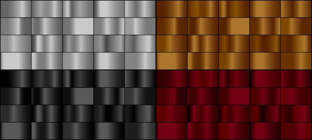Wektor zestaw kolorowych metalowych gradientów.
