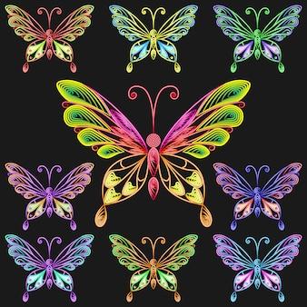 Wektor zestaw kolorowych motyli