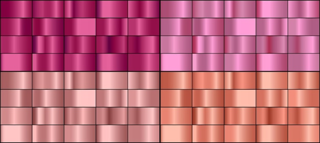 Wektor zestaw kolorowych różowego złota metalowe gradienty.