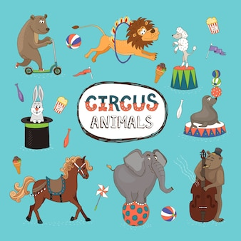 Wektor zestaw kolorowych zwierząt cyrkowych z centralną ramką z tekstem