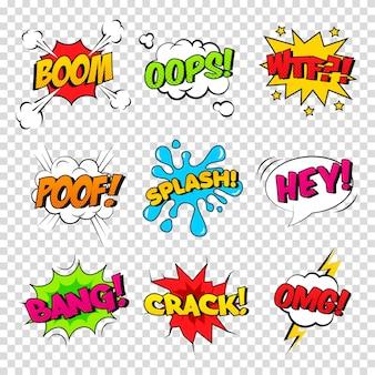 Wektor zestaw komicznych efektów dźwiękowych. kreskówka dymek z frazą boom, splash, wtf, poof, bang, oops, crack, omg, hej.