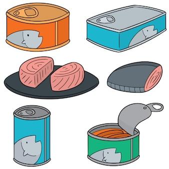 Wektor zestaw konserw rybnych