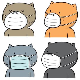 Wektor zestaw kota za pomocą medycznej maski ochronnej