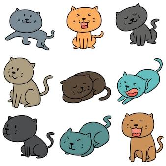 Wektor zestaw kotów