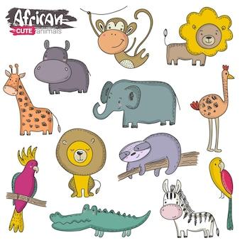 Wektor zestaw kreskówek afrykańskich zwierząt