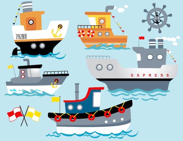 Wektor zestaw kreskówek łodzi ze sprzętem żeglarskim