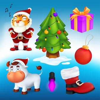 Wektor zestaw kreskówek świątecznych znaków i elementów dekoracyjnych: drzewo, pudełko, czerwony but, lampa wianek, piłka, tygrys w stroju świętego mikołaja, biały byk - symbol roku według chińskiego kalendarza
