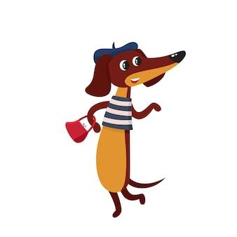 Wektor zestaw kreskówka brązowy zabawny jamnik ładny zabawny francuski pies szczeniak charakter spaceru