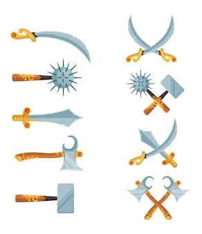 Wektor zestaw kreskówka gry projekt skrzyżowane miecze