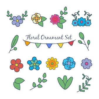 Wektor zestaw kreskówka kawaii ładny kwiat wiosny