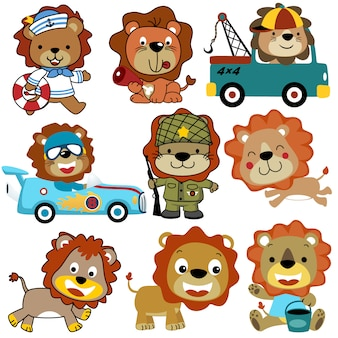 Wektor zestaw kreskówka lwy