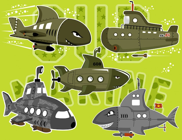Wektor zestaw kreskówka okręt podwodny wojskowych