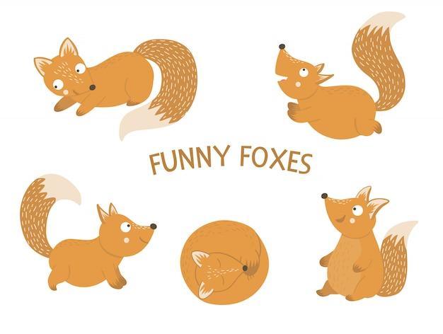 Wektor zestaw kreskówka ręcznie rysowane płaskie śmieszne lisy w różnych pozach. śliczna ilustracja zwierząt leśnych