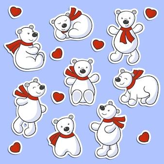 Wektor zestaw kreskówka słodkie niedźwiedzie polarne w czerwone szaliki i serca, do projektowania i dekoracji