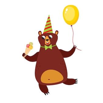 Wektor zestaw kreskówka zabawny niedźwiedź ładny zabawny niedźwiedź zwierzęcy z balonem i lodami
