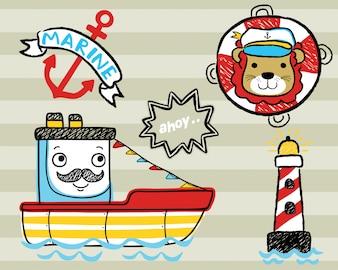 Wektor zestaw kreskówki tematu żeglarstwa