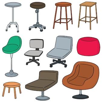 Wektor zestaw krzeseł