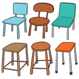 Wektor zestaw krzesło