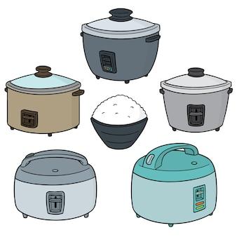 Wektor zestaw kuchenek do ryżu