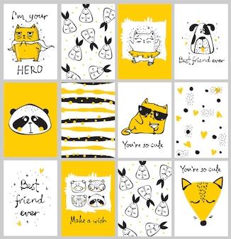 Wektor zestaw ładny na białym tle doodle kart z plemiennymi zwierzętami i innymi zdjęciami do wnętrz dla dzieci, banerów i plakatów.