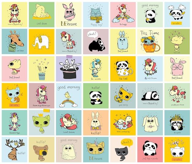 Wektor zestaw ładny ręcznie rysowane doodle hipster zwierząt. idealny do projektowania kartek okolicznościowych, nadruków na t-shirty i plakatów dziecięcych.