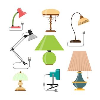Wektor zestaw lamp domowych. domowe lampy i lampy stołowe.