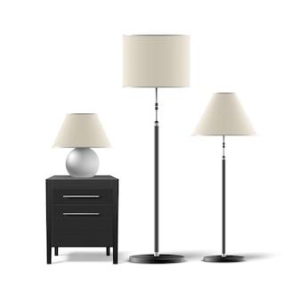Wektor zestaw lamp podłogowych i stołowych z czarną szafkę nocną na białym tle